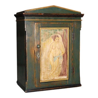 Mid 19th Century Folk Art Painted Wall Cabinet For Sale