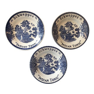 French 1960s Schweppes Indian Tonic Blue Willow Bistro Plates - Set of 3 For Sale
