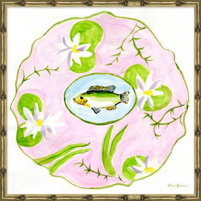 """Contemporary """"Lily Pad in Pink"""" By Dana Gibson, Framed Art Print For Sale - Image 3 of 3"""