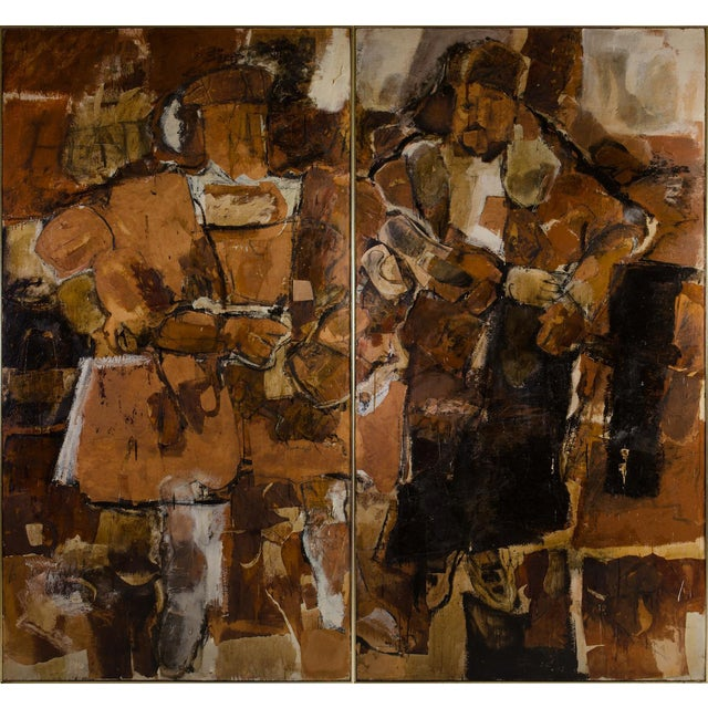 Abstract Expressionist Diptych by Hilda O'Connell, 1965 For Sale