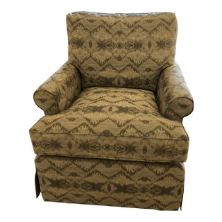"Robert Allen ""A300"" Pattern Fabric Upholstered Club Chair For Sale"