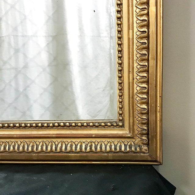 19th Century French Louis XVI Style Gilded Mirror For Sale - Image 10 of 12