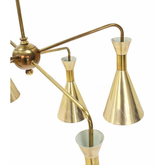 Cone Shades Sputnik Style Chandelier For Sale - Image 4 of 9