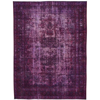 Vintage Overdyed Purple Wool Rug For Sale