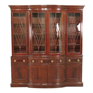 Councill Large Mahogany Breakfront China Cabinet For Sale
