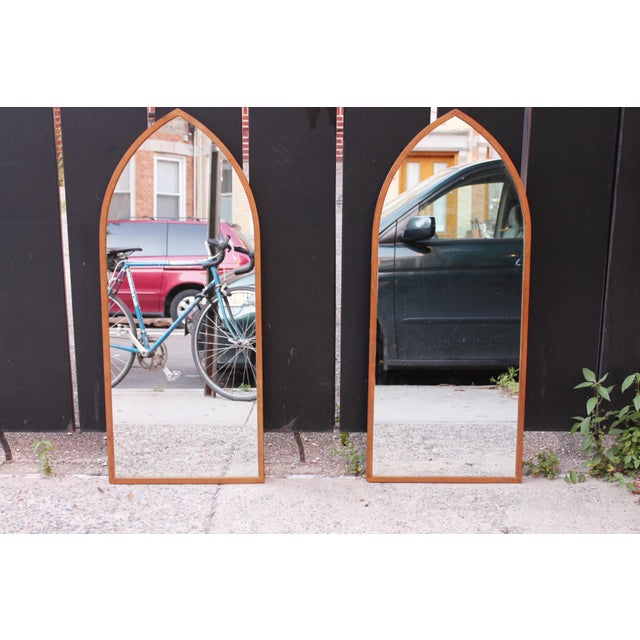 1960s Mid-Century Arched Wall Mirrors With Painted Brass Frames - a Pair For Sale - Image 5 of 6