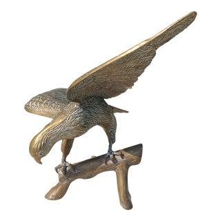 1970s Art Nouveau Solid Brass Eagle Sculpture For Sale