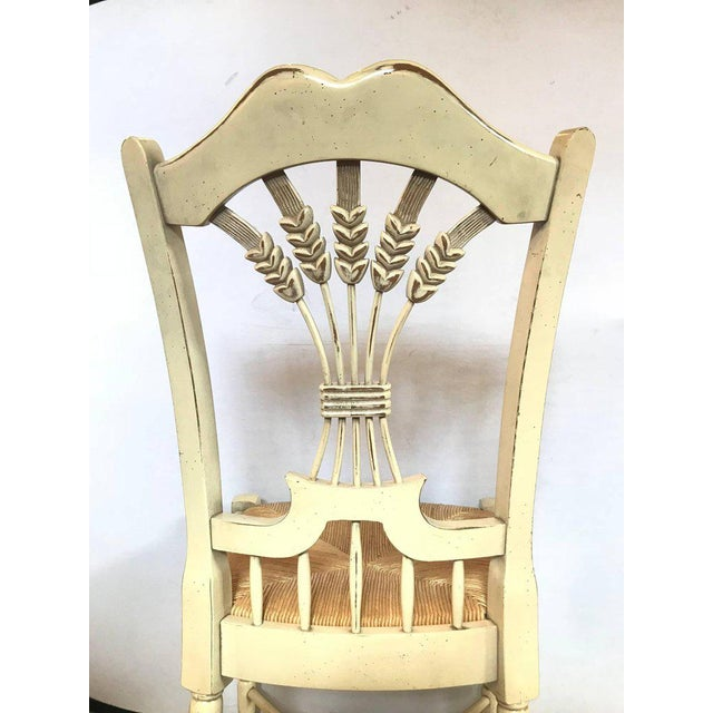 """Set of Six Distressed White Painted """"Italian"""" Rush Seat Side Chairs For Sale - Image 10 of 13"""