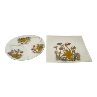 Mid Century Vintage Design Hand Painted Glass Serving Trays- A Pair For Sale