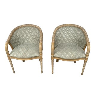Neoclassical Style Club Chairs a Pair. For Sale