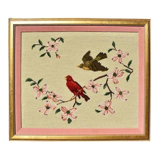 Pink Birds and Flowers Needlepoint Embroidered Wall Hanging, Framed For Sale