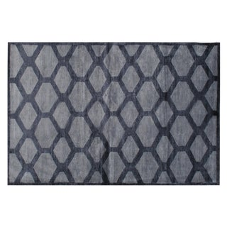 Stark Studio Contemporary New Oriental Tibetan Bamboo Silk/Wool Rug - 8′11″ × 11′10″ For Sale