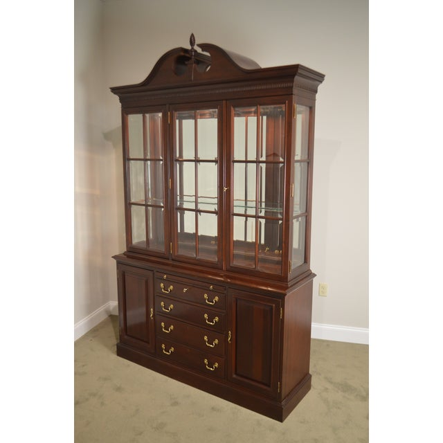 Lexington Chippendale Style Heirloom Solid Mahogany China Cabinet Top Buffet For Sale In Philadelphia - Image 6 of 13