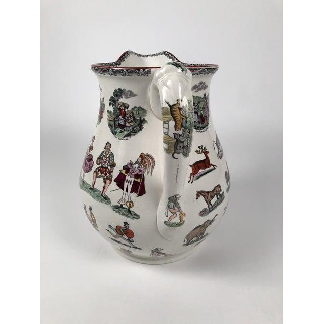 Traditional Giant 19th Century Staffordshire Pottery Harlequin Pitcher For Sale - Image 3 of 13
