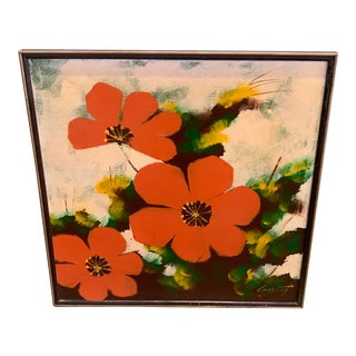Mid Century Modern Large Original Painting of Three Red Poppies For Sale