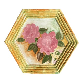 Hexagonal Painted Faux Bamboo Rose in Pink Yellow and Green Plate Signed For Sale