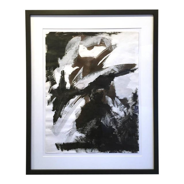 Stephanie Cate Abstract Europa 30 Study Black and White Acrylic Painting on Paper For Sale