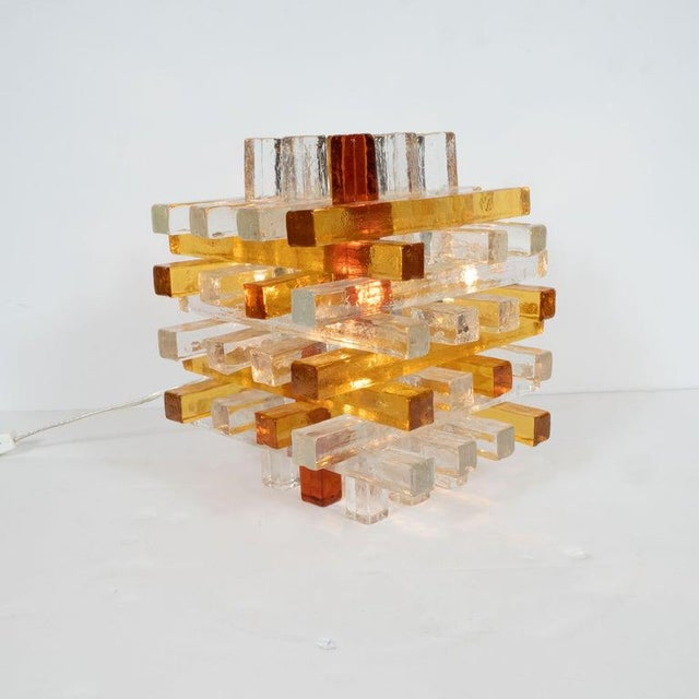 Mid-Century Modern Cubist Veronese Amber Hued Glass Table Lamp by Poliarte For Sale - Image 9 of 13