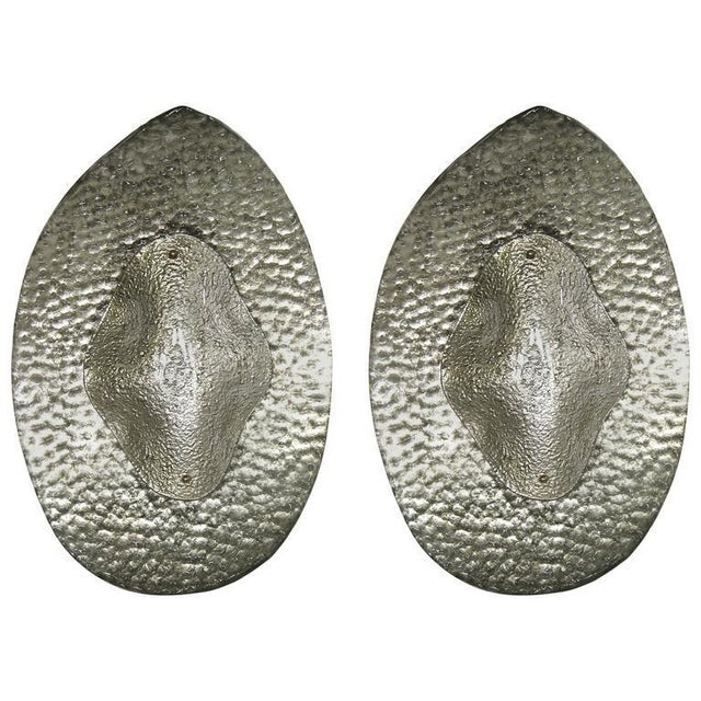 Silver 1990s Modern Italian Silver Finish Textured Murano Glass Concave Sconces - a Pair For Sale - Image 8 of 8