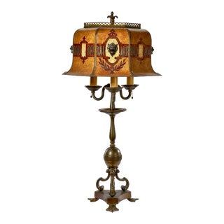 19th Century French Empire Bronze and Brass Table Lamp For Sale