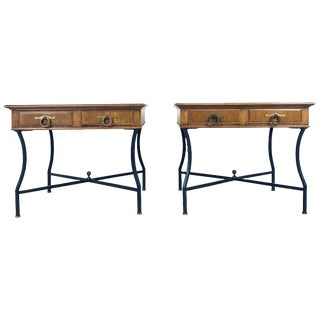 Stunning Pair of Tomlinson Inlaid Walnut Midcentury End Lamp Tables W Ring Pulls For Sale