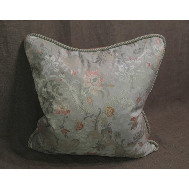 Vintage silk floral fragment throw pillow neutral background with light green, reds and coral colors with welt cord and...