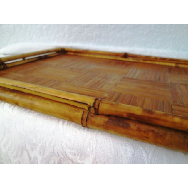 Vintage Tortoise Bamboo & Rattan Tray For Sale - Image 5 of 7
