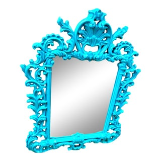 Large Rococo Style Deep Bright Robins Egg Blue Wall Mirror For Sale