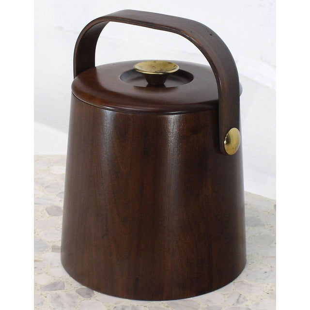 Mid-Century Modern American Walnut Danish Modern Style Ice Bucket with Lid For Sale - Image 3 of 8