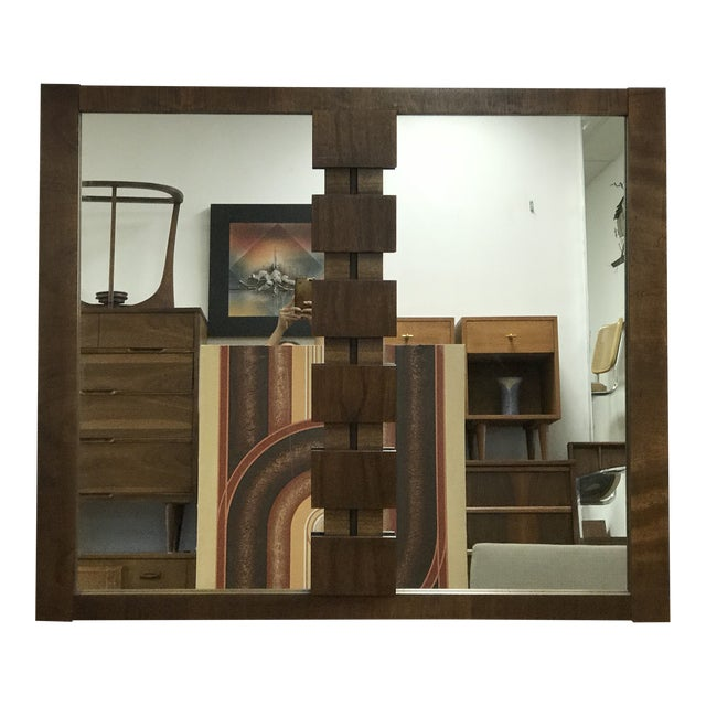 Mid-Century Modern Brutalist Hanging Mirror inspired by Paul Evans by Lane. Cubist design placed right in the middle...