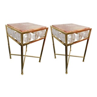 Contemporary Pair of Brass Side Table Rock Cristal Onix, Italy For Sale
