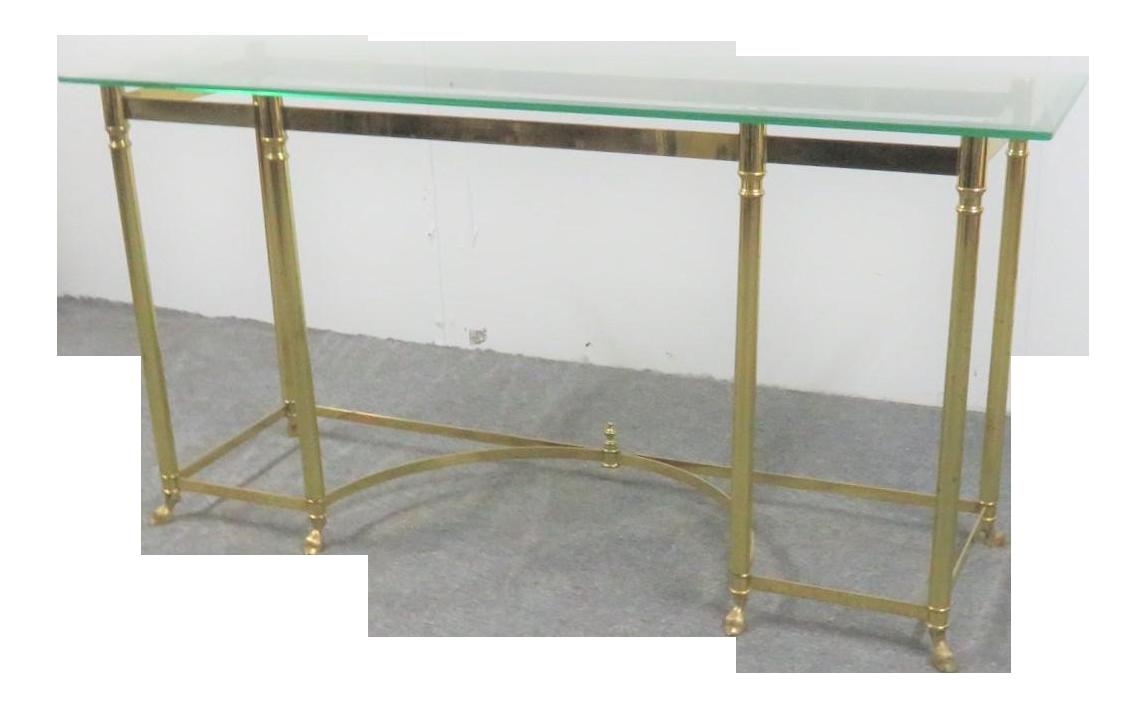 Labarge Brass Glass Console Sofa Table Chairish