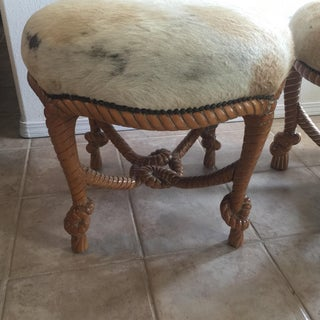 1980s Vintage Cal Mode Carved Twisted Wood Round Cowhide Stools - a Pair Preview