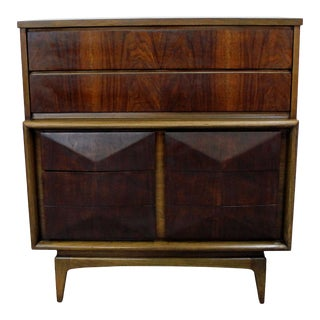 Mid-Century Modern United Diamond Front Walnut Tall Chest Dresser For Sale