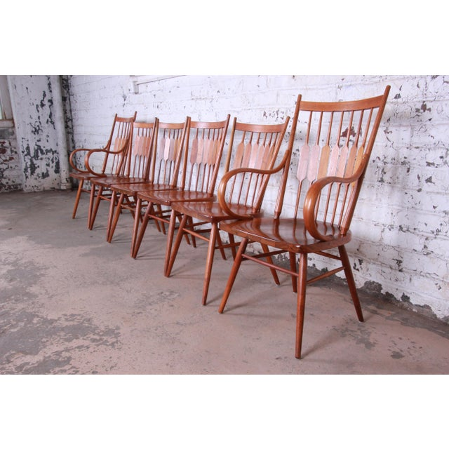 Danish Modern Kipp Stewart for Drexel Declaration Solid Walnut Dining Chairs, Set of 6 For Sale - Image 3 of 13