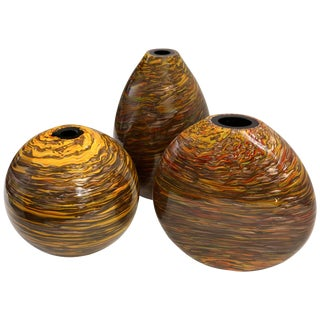 Formia 1980s Modern Brown Yellow Red Orange Gold Murano Glass Vases - a Pair For Sale