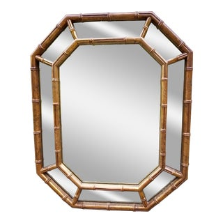 Hollywood Regency Faux Bamboo Mirror For Sale