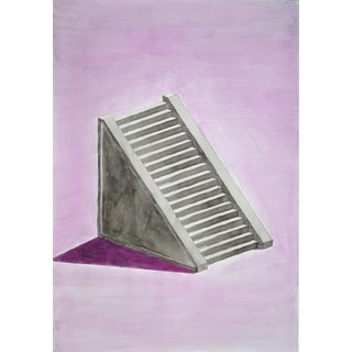 Minimal Mayan Staircase Watercolor Painting by Ryan Rivadeneyra, 2020 For Sale