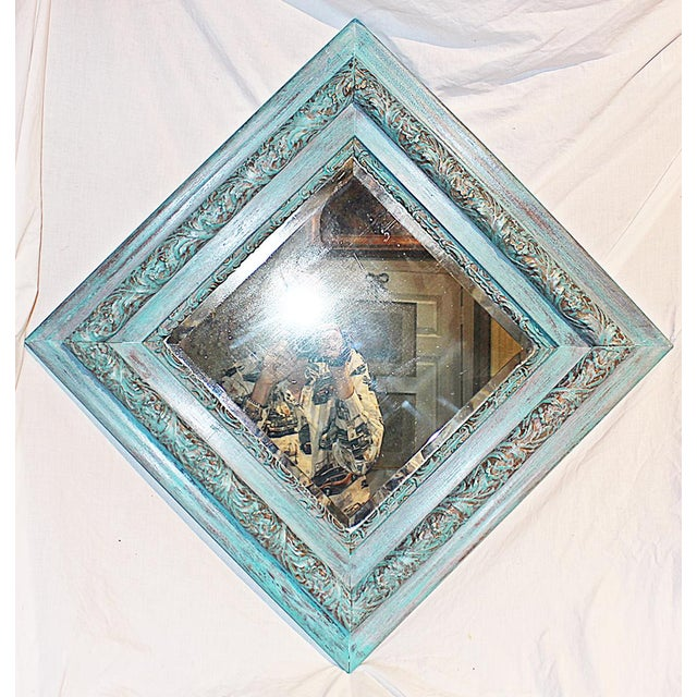 English Traditional Antique Paint-Washed Beveled MIrror For Sale - Image 3 of 6