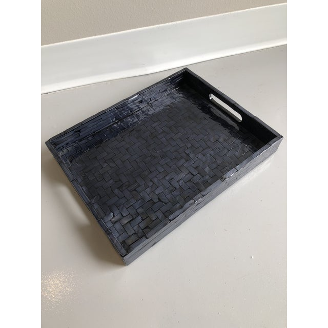 Contemporary Contemporary Tozai Home Small Midnight Blue Criss Cross Tray For Sale - Image 3 of 6