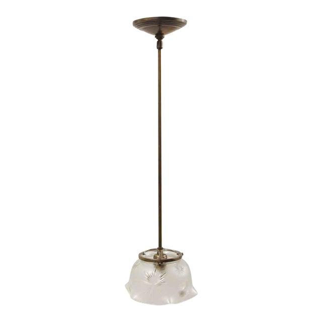 Antique Etched Glass Brass Pole Pendant Light For Sale
