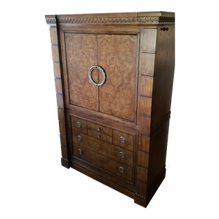 Drexel Heritage Burled Wood Armoire For Sale