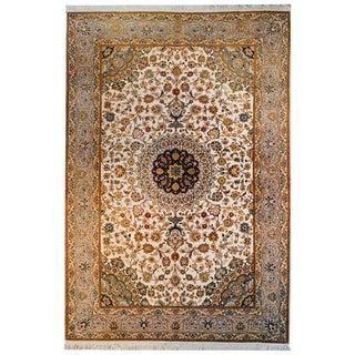 Unbelievable Vintage Century Tabriz Silk Rug For Sale