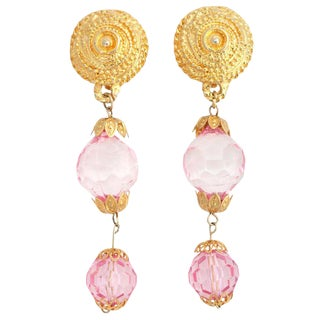 Goldtone and Pink Lucite Dangle Earrings For Sale