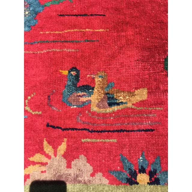 Textile Chinese Art Deco Nichols Red and Green Rug - 2′11″ × 4′11″ For Sale - Image 7 of 12