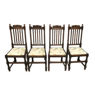 Early 20th Century Vintage Barley Twist Carved Oak Dining Chairs - Set of 4 For Sale