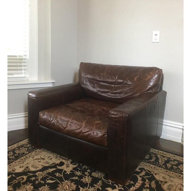 Contemporary Restoration Hardware Maxwell Leather Chair For Sale - Image 3 of 5