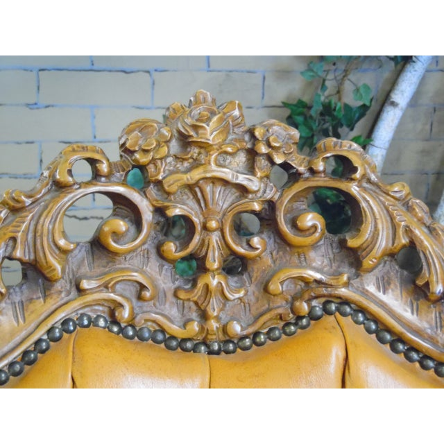 Leather 1930s Hand Carved Leather Chairs - Set of 4 For Sale - Image 7 of 9