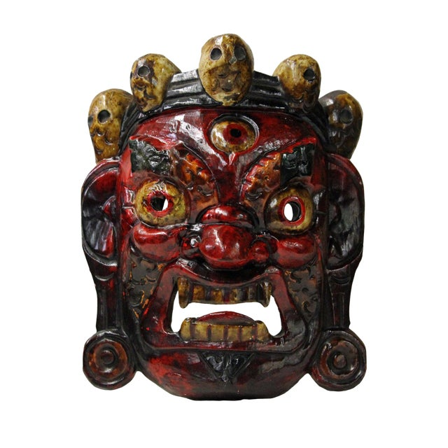 Hand Craved Vintage Tibetan Traditional Ceremony Solid Wood Mask For Sale