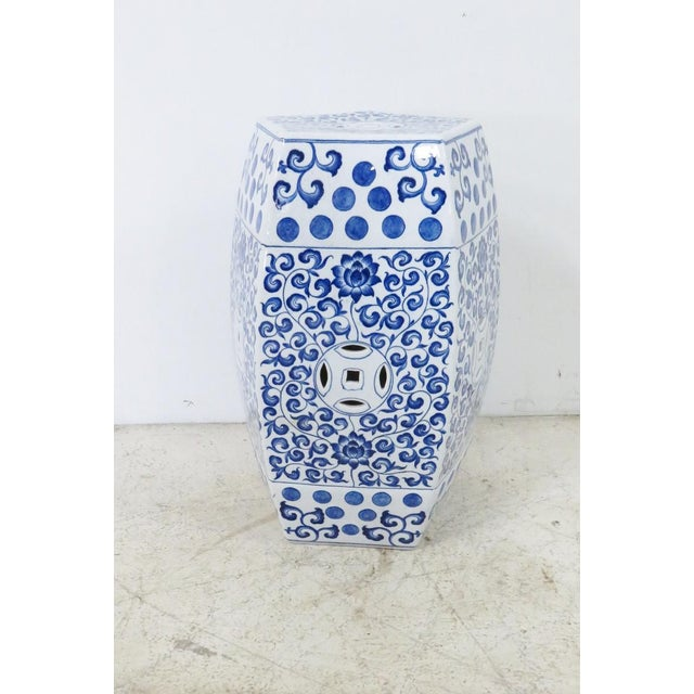Chinese style blue and white porcelain garden seat/stool . Made from porcelain in the late 20th century.